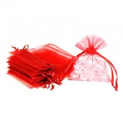 Woreczki z organzy 8 cm x 10 cm (czerwone) - 25 szt.