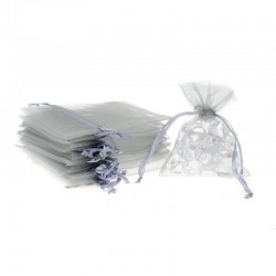 Woreczki z organzy 8 cm x 10 cm (srebrne) - 25 szt.