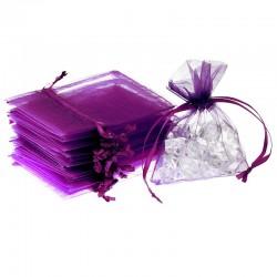 Woreczki z organzy 9 cm x 12 cm (fioletowe ciemne) - 25 szt.