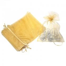 Woreczki z organzy 18 cm x 24 cm (złote) - 10 szt.