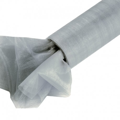 Organza gładka 40 cm x 9,1 m (srebrna) - 1 szt.