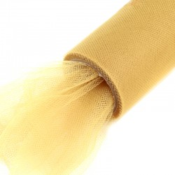 Tiul na rolce gładki 16 cm x 9,1m (jasny złoty) - 1 szt.