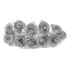 Róże satynowe (srebrne) - 36 szt.