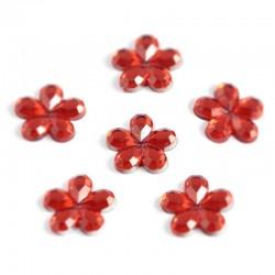 Cyrkonie kwiatki 8 mm, 80 szt - CZERWONE