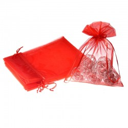 Woreczki z organzy 22 cm x 30 cm (czerwone) - 10 szt.