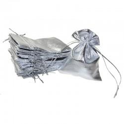 Woreczki metaliczne 8 cm x 10 cm (srebrne) - 10 szt.