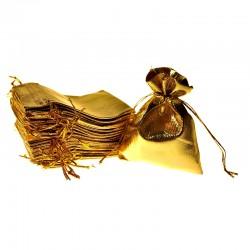 Woreczki metaliczne 10 cm x 13 cm (złote) - 10 szt.