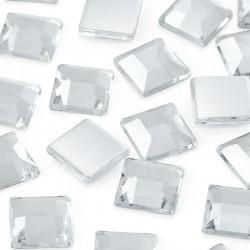 Dżety kwadratowe 25 x 25 mm (kryształowy) - 100 szt.