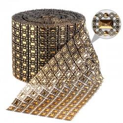 Taśma dekoracyjna 10,5 cm x 9m (złoto-czarna) - 1 szt.