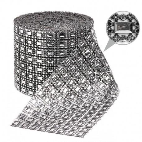 Taśma dekoracyjna 12 cm x 9m (srebrno-czarna) - 1 szt.