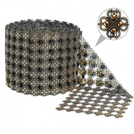 Taśma dekoracyjna 11 cm x 9m (złoto-czarna) - 1 szt.