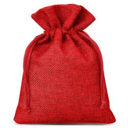 Woreczki jutowe 13 cm x 18 cm (czerwone) - 10 szt.