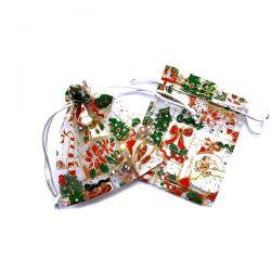 Woreczki z organzy 10 cm x 12 cm (Boże Narodzenie) - 25 szt.