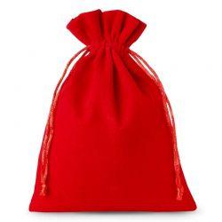 Woreczki welurowe 12 cm x 15 cm (czerwone) - 10 szt.