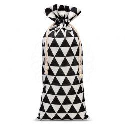 Woreczek lniany 16 cm x 37 cm z nadrukiem / czarne trójkąty - 1 szt.