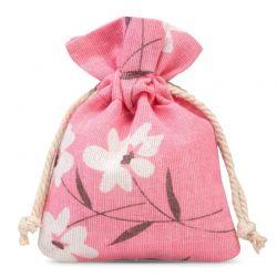Woreczki lniane 10 cm x 13 cm z nadrukiem / różowe kwiaty - 5 szt.
