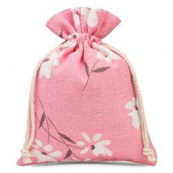 Woreczki lniane 13 cm x 18 cm z nadrukiem / różowe kwiaty - 3 szt.