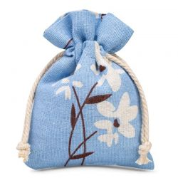 Woreczki lniane 12 cm x 15 cm z nadrukiem / niebieskie kwiaty - 3 szt.