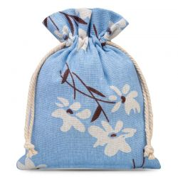 Woreczki lniane 13 cm x 18 cm z nadrukiem / niebieskie kwiaty - 3 szt.