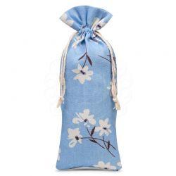 Woreczek lniany 16 cm x 37 cm z nadrukiem / niebieskie kwiaty - 1 szt.
