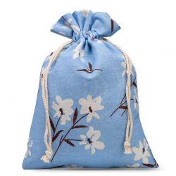 Woreczki lniane 22 cm x 30 cm z nadrukiem / niebieskie kwiaty - 1 szt.
