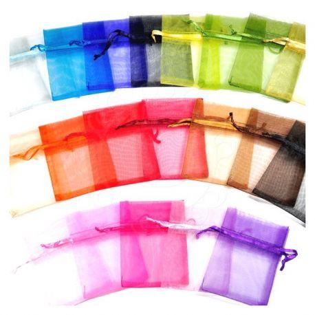 Woreczki z organzy 6 cm x 8 cm mix kolorów - 25 szt.