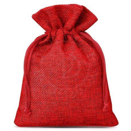 Woreczki jutowe 10 cm x 13 cm (czerwone) - 10 szt.