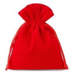 Woreczki welurowe 6 cm x 8 cm (czerwone) - 10 szt.