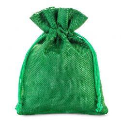 Woreczki jutowe 13 cm x 18 cm (zielone) - 10 szt.