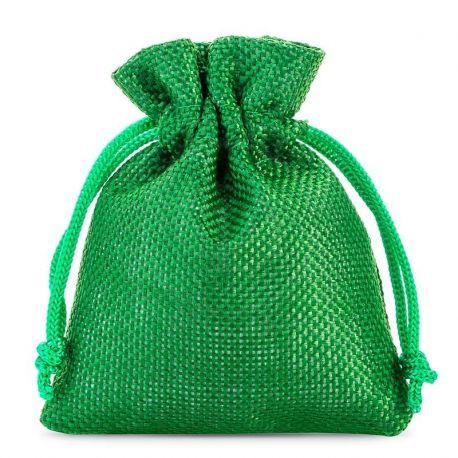 Woreczki jutowe 10 cm x 13 cm (zielone) - 10 szt.