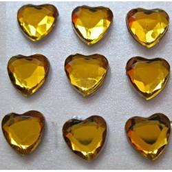 Cyrkonie serca 6 mm, 100 szt - ZŁOTE